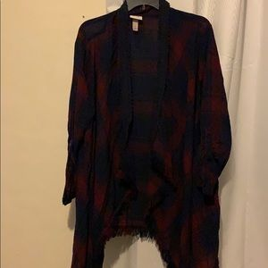 Burgundy & Blue square print jacket